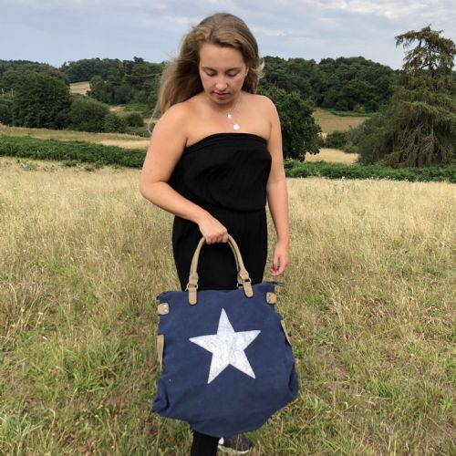Sparkly star tote bag - large - various colours